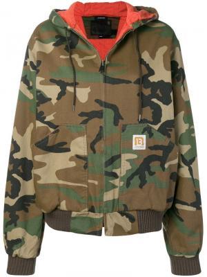 Куртка-бомбер с принтом в стиле милитари R13. Цвет: зеленый