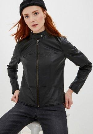 Куртка кожаная Lacoste. Цвет: черный