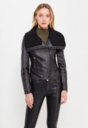 Куртка кожаная B.Style BS002EWWVU38. Цвет: черный