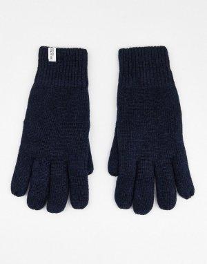 Темно-синие перчатки из смесовой шерсти -Темно-синий Selected Homme