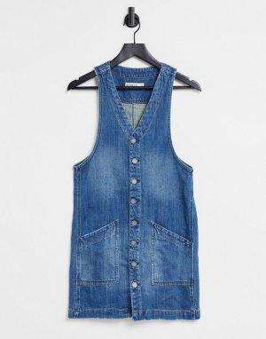 Голубое джинсовое платье-трапеция Blank NYC Boy-Голубой