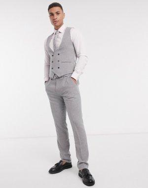 Узкий двубортный фланелевый жилет серого цвета -Серый Gianni Feraud