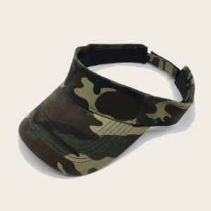 Мужская шляпа козырька с камуфляжным узором SHEIN. Цвет: армейский зеленый