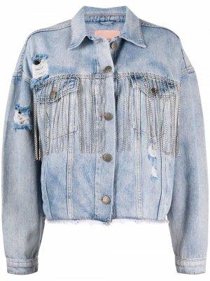 Джинсовая куртка с прорезями TWINSET. Цвет: синий
