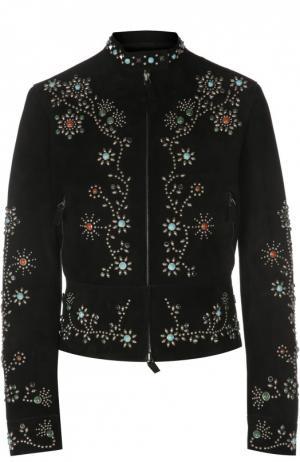 Кожаная куртка на молнии с декоративной отделкой камнями Valentino. Цвет: черный