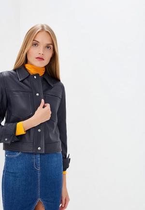 Куртка кожаная Calvin Klein. Цвет: синий