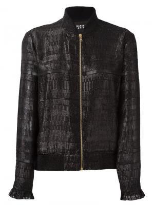 Куртка-бомбер на молнии с рюшами манжетах Markus Lupfer. Цвет: чёрный