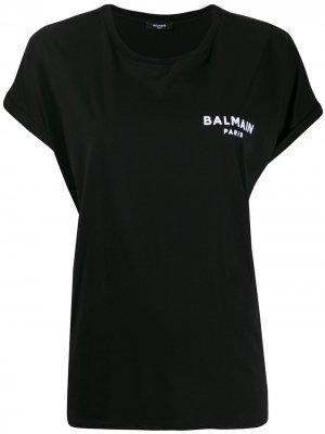 Футболка оверсайз с логотипом Balmain. Цвет: черный