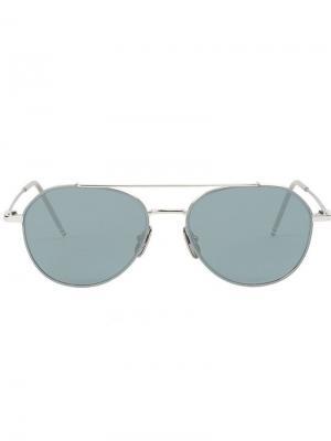 Солнцезащитные очки-авиаторы Thom Browne Eyewear. Цвет: серый