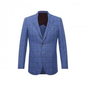 Пиджак изо льна и шерсти Luciano Barbera. Цвет: синий