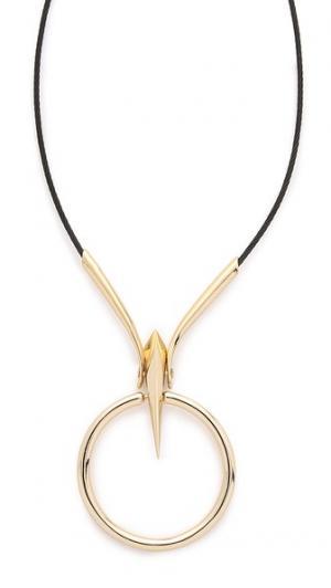Цепочка с кулоном в виде кольца пирамидой Alexis Bittar. Цвет: коричневый