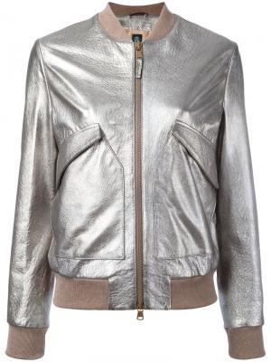 Куртка-бомбер с эффектом металлик Eleventy. Цвет: металлический