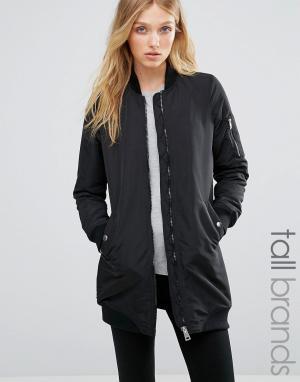 Удлиненная куртка‑пилот в рубчик Vero Moda Tall. Цвет: черный