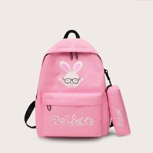 Рюкзак с принтом кролика и пеналом для девочек SHEIN. Цвет: розовые
