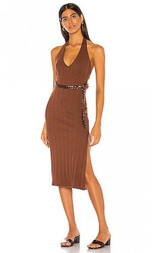 Платье миди kendrick MAJORELLE. Цвет: коричневый