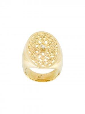 Ажурный перстень из желтого золота с бриллиантом Wouters & Hendrix Gold. Цвет: золотистый