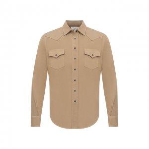 Джинсовая рубашка Saint Laurent. Цвет: бежевый