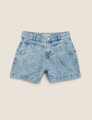 Джинсовые шорты из чистого хлопка с высокой талией Marks & Spencer. Цвет: деним