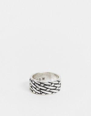 Серебристое широкое кольцо с плетеной текстурой -Серебристый Icon Brand