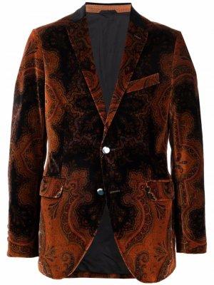 Бархатный пиджак с принтом пейсли ETRO. Цвет: коричневый