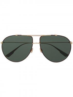 Массивные солнцезащитные очки-авиаторы Dior Eyewear. Цвет: коричневый