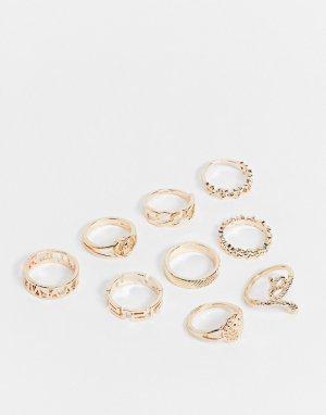 Набор золотистых составных колец со змеиным узором Ego-Золотистый EGO