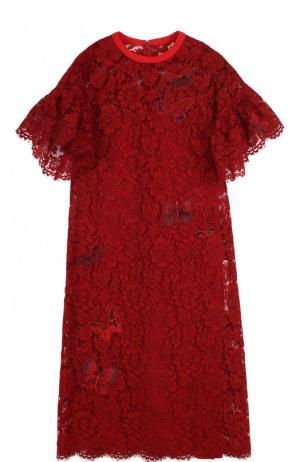 Шелковое кружевное платье-миди Valentino. Цвет: красный