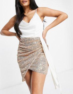 Платье «два в одном» белого и золотистого цвета с пайетками на юбке драпированной майкой Plus-Многоцветный Jaded Rose