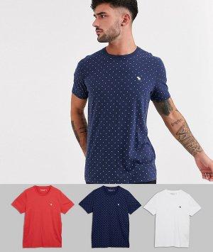 3 футболки с круглым вырезом и логотипом Abercrombie & Fitch. Цвет: мульти