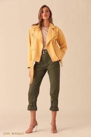 Джинсовая куртка-косуха желтого цвета LOVE REPUBLIC