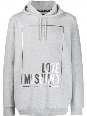 Худи с логотипом Love Moschino. Цвет: серый