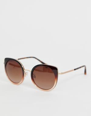 Черные круглые солнцезащитные очки Ted Baker. Цвет: черный