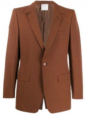 Полосатый пиджак 1997-го года Romeo Gigli Pre-Owned. Цвет: коричневый