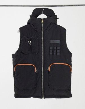 Черный жилет с карманами в стиле милитари Sixth June