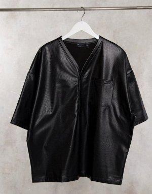 Черная бейсбольная рубашка в стиле oversize из эластичной перфорированной искусственной кожи -Черный ASOS DESIGN