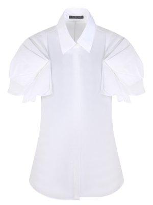 Блуза хлопковая A.MCQUEEN. Цвет: белый
