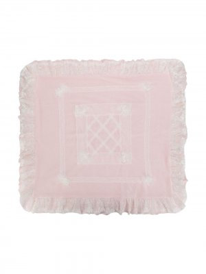 Одеяло с оборками и кружевом Aletta. Цвет: розовый