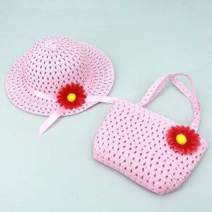 Шляпа и сумка-сэтчел для девочек 2шт SHEIN. Цвет: розовые