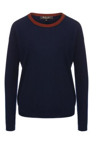 Кашемировый пуловер с воротником-стойкой Loro Piana. Цвет: темно-синий