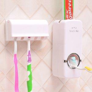 1шт Соковыжималка для зубных паст с зубной щеткой SHEIN. Цвет: белый