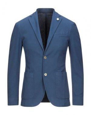 Пиджак LUIGI BIANCHI ROUGH. Цвет: синий