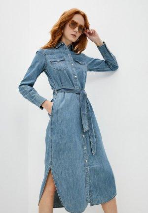 Платье джинсовое Lauren Ralph. Цвет: голубой