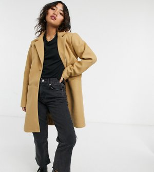 Коричневое пальто-бушлат -Коричневый цвет Vila Petite