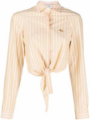 Полосатая рубашка с завязками Etro. Цвет: желтый