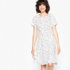 Платье свободное с рисунком в горох и короткими рукавами ANOMA NUMPH. Цвет: рисунок/белый