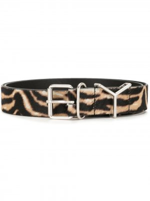 Tiger print calf leather belt Y/Project. Цвет: черный