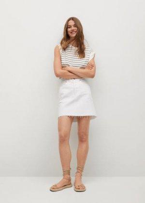 Джинсовая мини-юбка с бахромой по низу - Rachel Mango. Цвет: белый