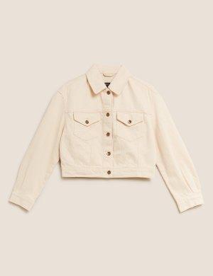 Укороченная джинсовая куртка M&S Collection. Цвет: ваниль