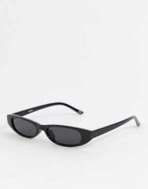 Черные узкие овальные солнцезащитные очки Inspired эксклюзивно для ASOS Reclaimed Vintage. Цвет: черный