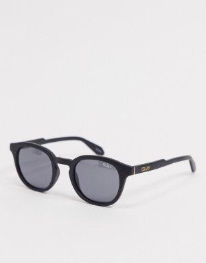 Мужские круглые солнцезащитные очки в черной оправе Quay Walk On-Черный Australia